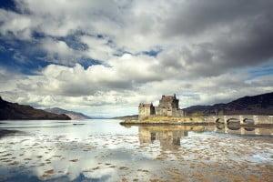 Eilean donan Casle reflecting on Loch Duich